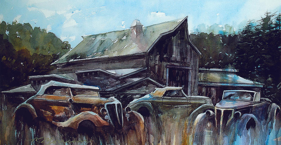 Barn Painting - Ford Cabriolets Guard the Barn by Ron Morrison