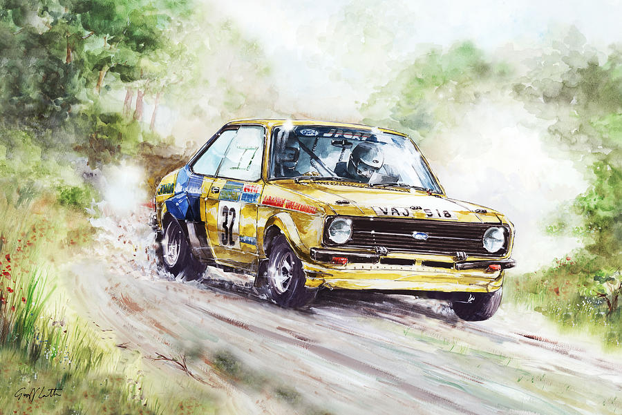 Ford Escort Mk2 Rally Car Painting by Geoff Latter