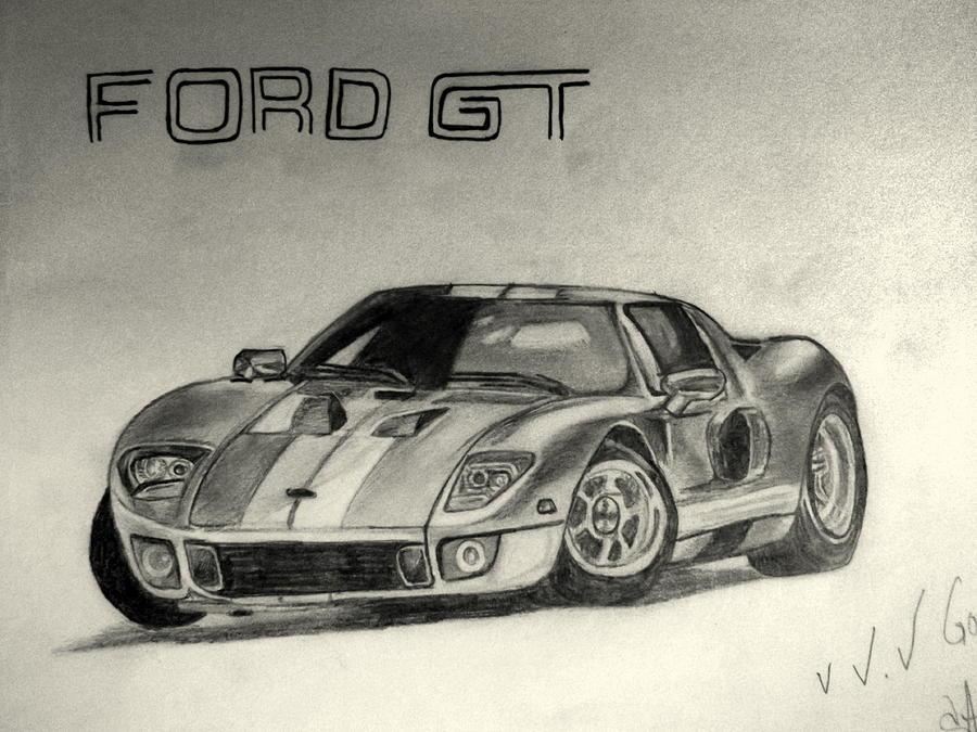 Car Drawing Ford Gt By Azhar Khan