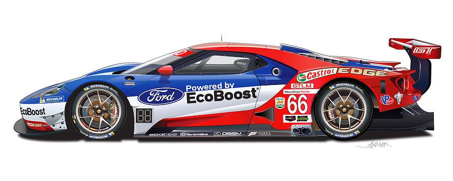 Ford Racing Digital Art - Ford Gt Le Mans Illustration by Alain Jamar