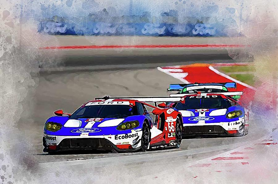 Ford Gt Digital Art Ford G T Racing By Karl Knox Images