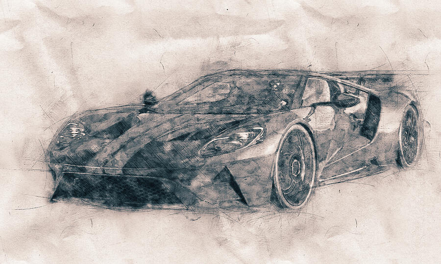 Ford Gt40 - Sports Car - Racing Car - 1966s - Automotive Art - Car Posters Mixed Media