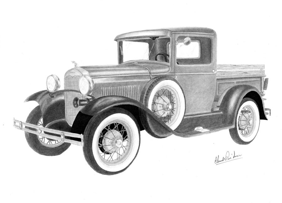 Ford Model A 1930 Drawing By Claude Prud Homme
