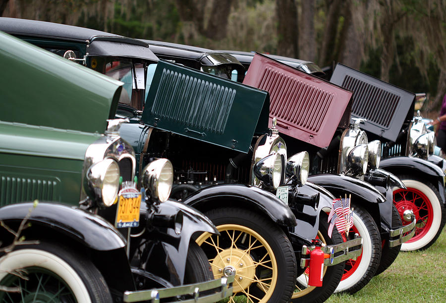 Car Photograph - Ford Model A Line Up by April Wietrecki Green