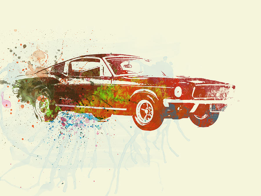 Ford Mustang Painting - Ford Mustang Watercolor by Naxart Studio