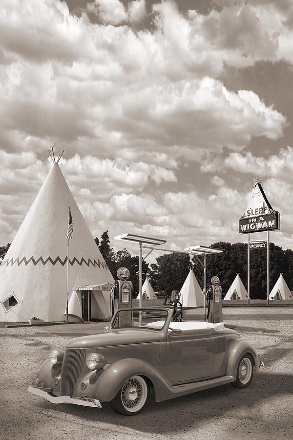 Street Rods Photograph - Ford Roadster At An Indian Gas Station Sepia by Mike McGlothlen