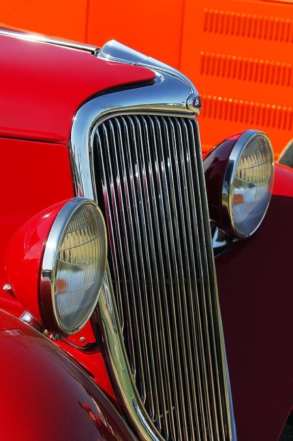 Car Photograph - Ford Roadster Grille by Jill Reger