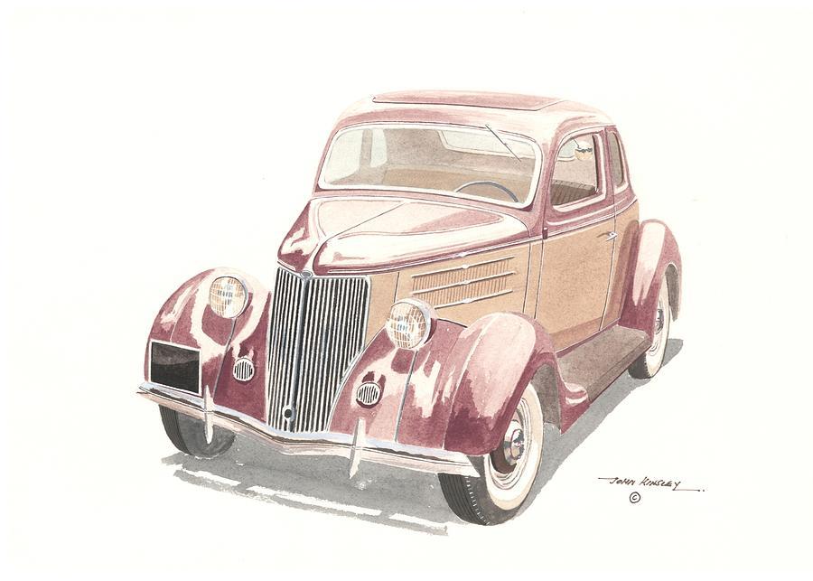 Transportation Painting - Ford Sedan  1935 by John Kinsley