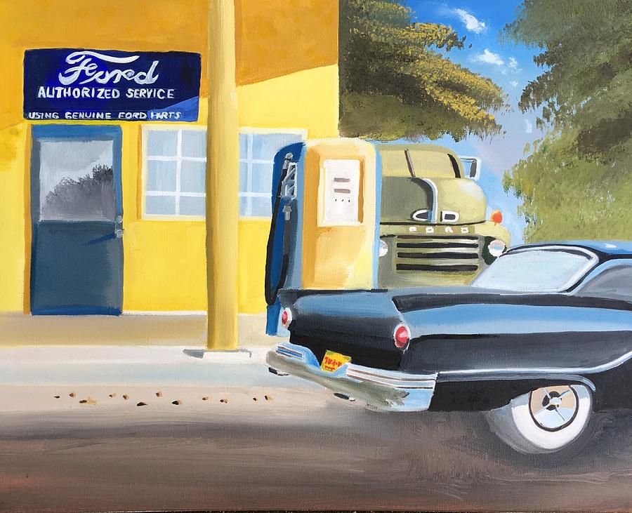 Vintage Ford Painting - Fords Only  by Chris Callen