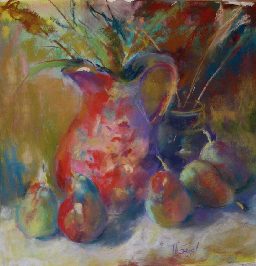 Still Life Painting - Forell Pears And A Pitcher by Harvey Segal