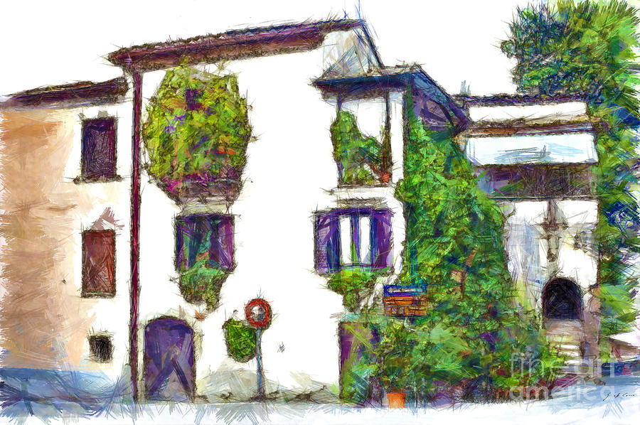Pencil Digital Art - Foreshortening Of House Covered With Climbing Plants by Giuseppe Cocco