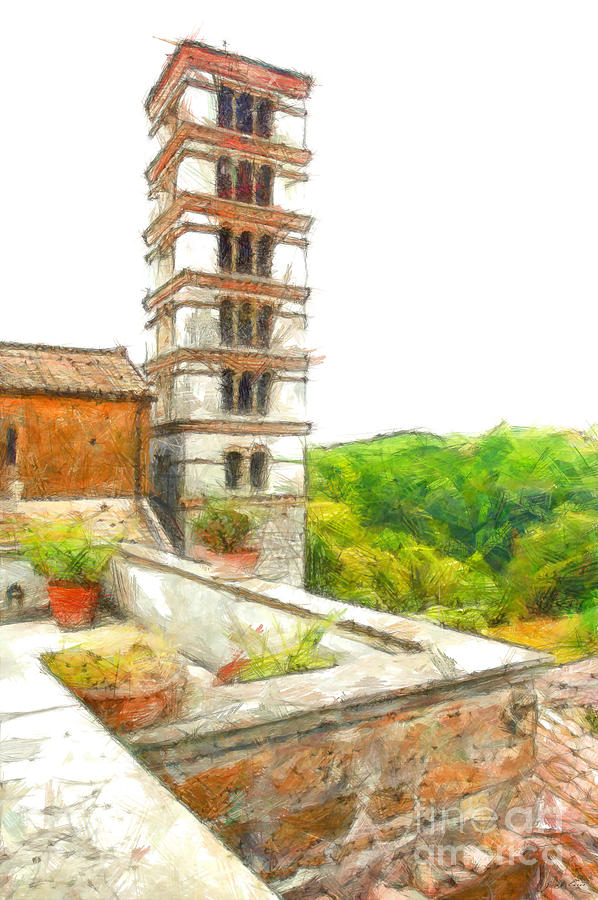 Pencil Digital Art - Foreshortening With Bell Tower And Wood by Giuseppe Cocco