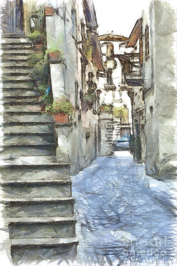 Pencil Digital Art - Foreshortening With Stairs by Giuseppe Cocco