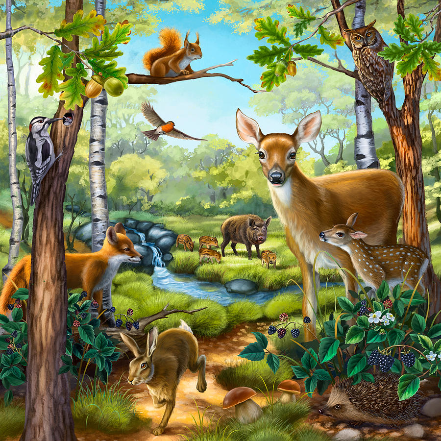 Forest Animals Painting By Anne Wertheim