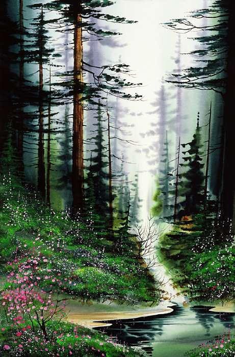 Forest Blush Painting by de l Aigle