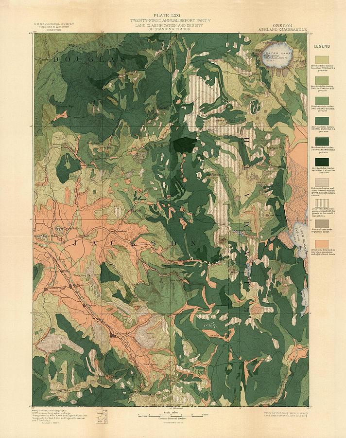 Forest Cover Map 1886-87 - Oregon Ashland Quadrangle - Geological Map Drawing