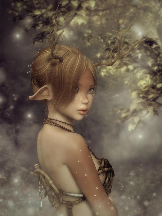 Faun Digital Art - Forest Faun by Rachel Dudley
