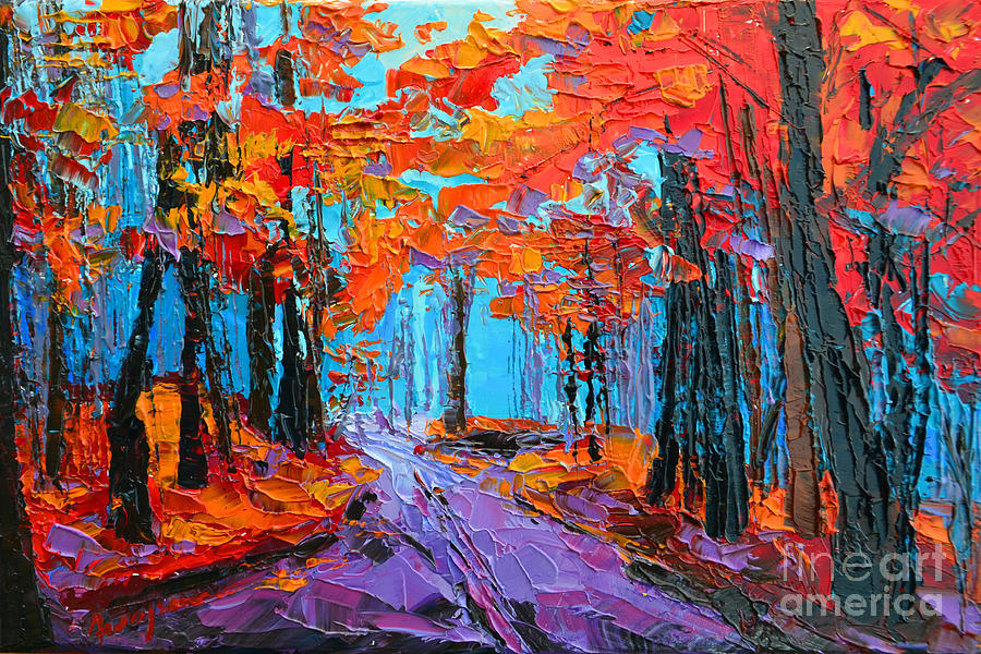Autumn Forest, Purple Path, Modern Impressionist, Palette Knife painting by Patricia Awapara