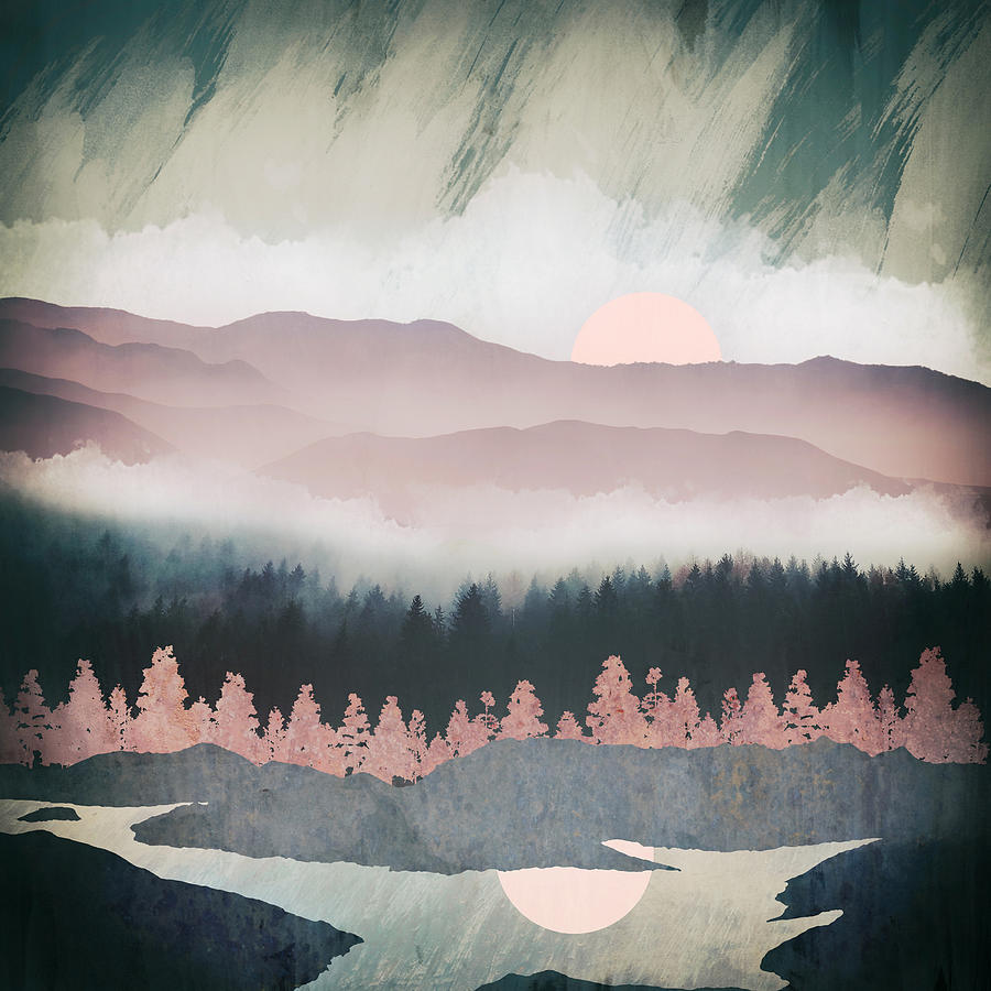 Forest Digital Art - Forest Lake Evening by Spacefrog Designs