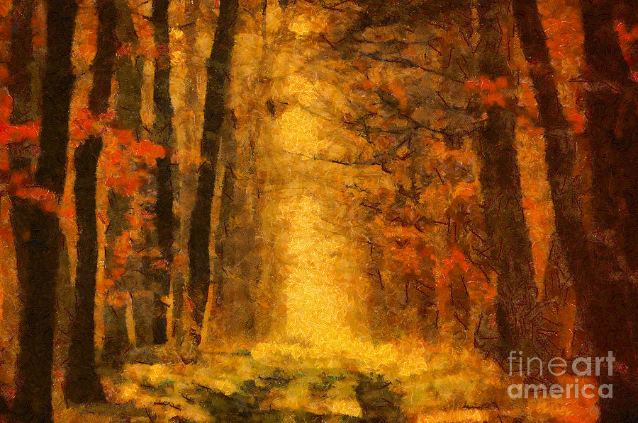 Painting Painting - Forest Leaves by Dimitar Hristov