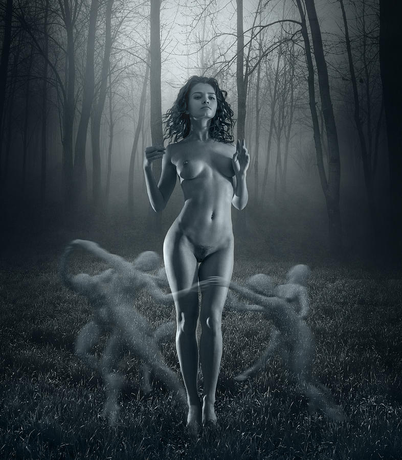 Nude nymph forest wood amusing