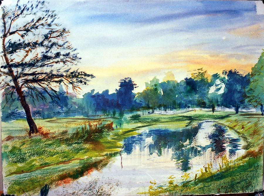 Watercolor Painting - Forest Park At Dawn by Horacio Prada