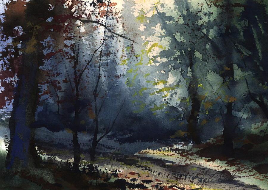 Forest Path Painting by John Fitzgibbon