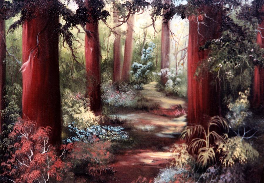 Oil Painting Painting - Forest Path by Joni McPherson