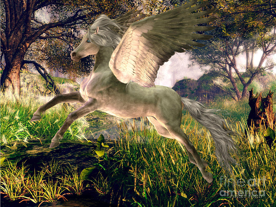 Forest Pegasus Painting By Corey Ford
