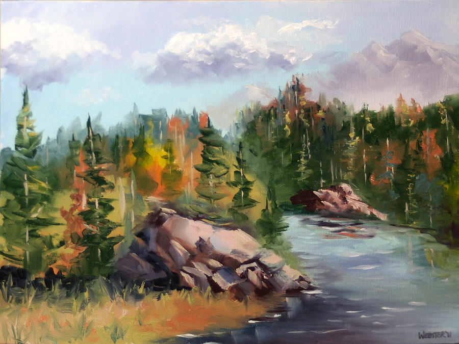 Forest Painting - Forest River Landscape Oil Painting By Artist Mark  Webster. by Mark Webster - Forest River Landscape Oil Painting By Artist Mark Webster. Painting