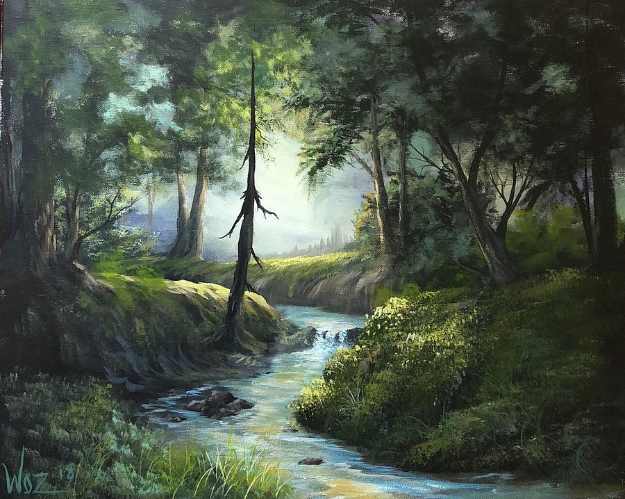 Forest River  Painting by Paintings by Justin Wozniak