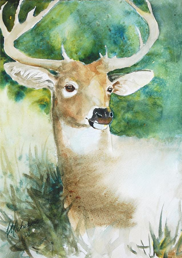 Deer Painting - Forest Spirit by Christie Michelsen