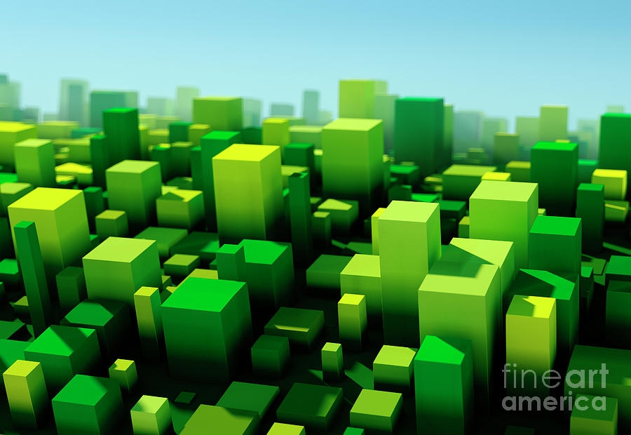 Design Digital Art - Forest Square Variation Pattern Abstract 3D Cityscape DOF by Frank Ramspott