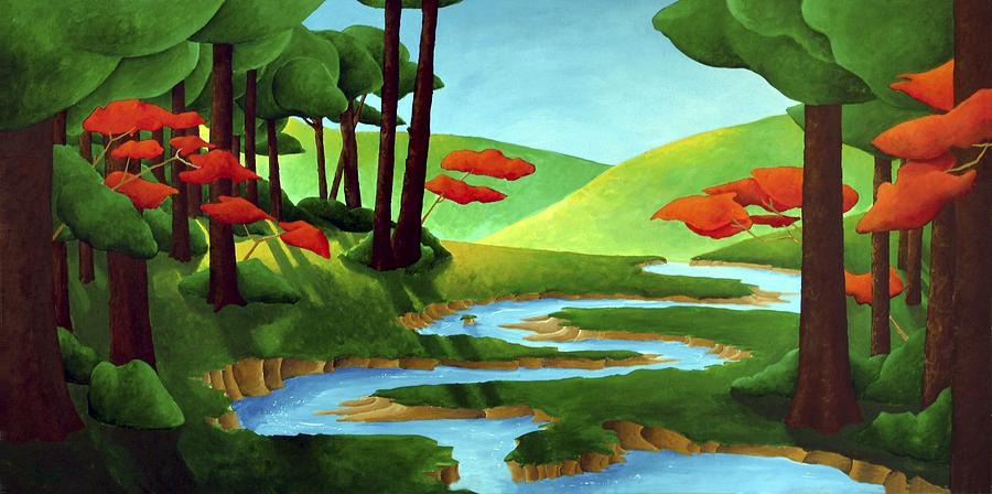 Landscape Painting - Forest Stream - Through The Forest Series by Richard Hoedl