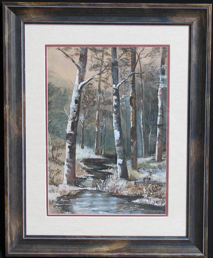 Forest Stream In Winter Painting by Roberts