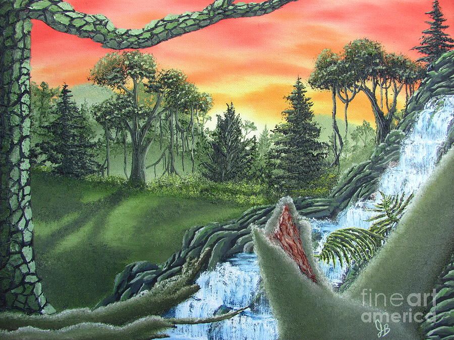 Forest Sunset Cascade Painting by Joshua Bales