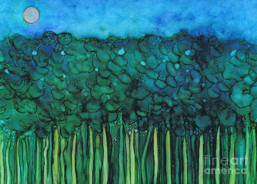 Forest Under The Full Moon - Abstract by Hao Aiken