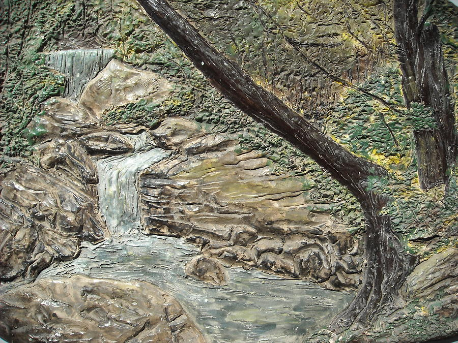 Forest Relief - Forest Waterfall by Doris Lindsey