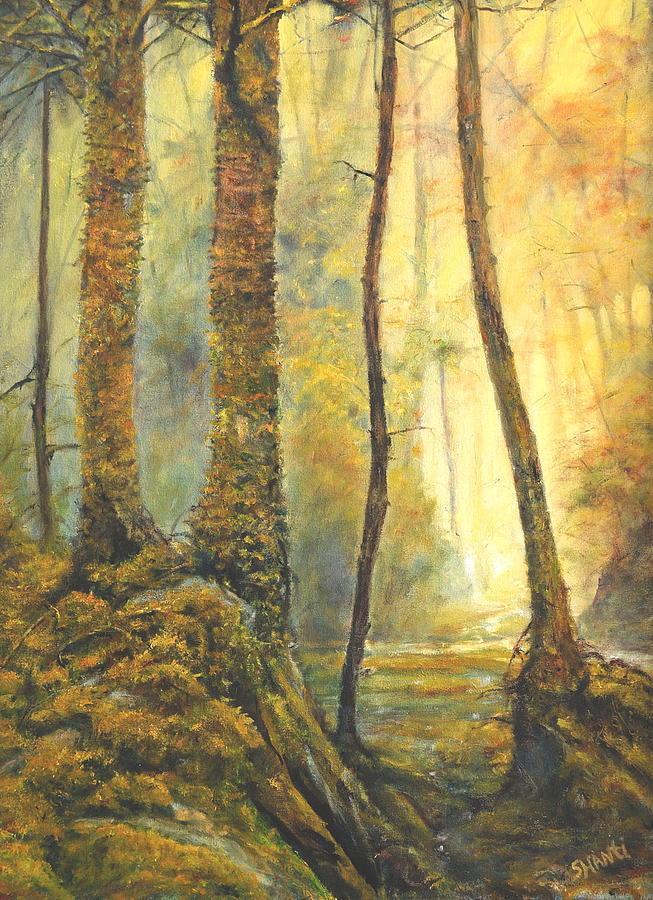 Landscape Impressionist Forest Painting - Forest Wonderment by Craig shanti Mackinnon