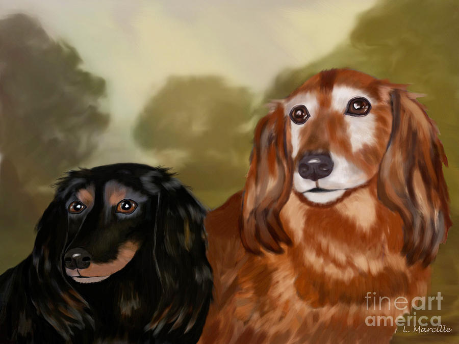 Dachshund Painting - Forever Friends by Linda Marcille