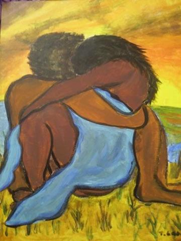 Couple Painting - Forever In Your Arms by Tatanisha Crockett