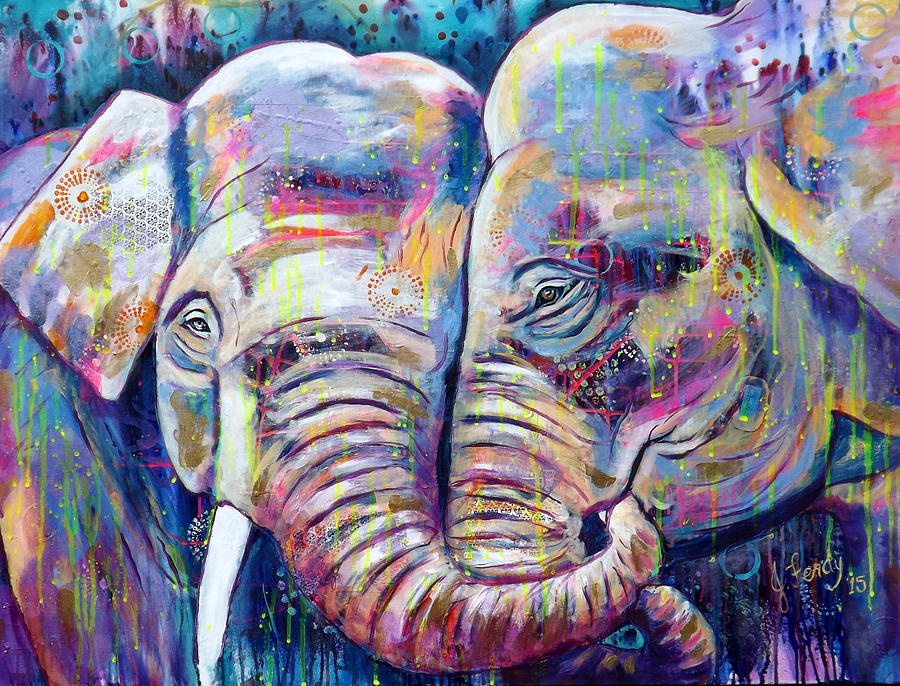 Elephants Painting - Forever Love by Goddess Rockstar