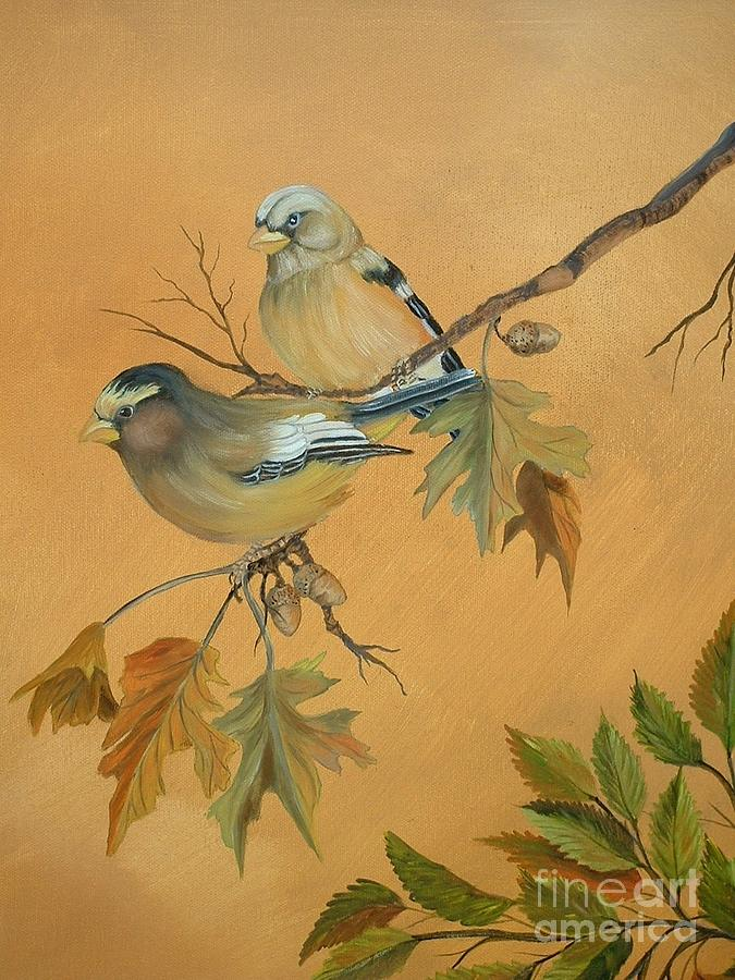 Birds Painting - Forever Together by Janna Columbus