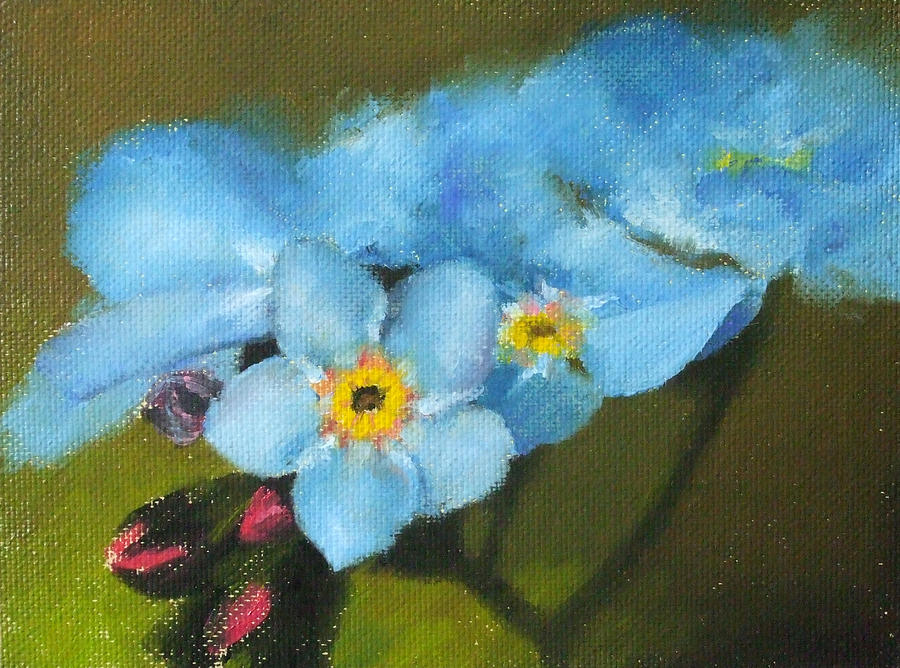 Flowers Painting - Forget-me-nots by Bar Valentin