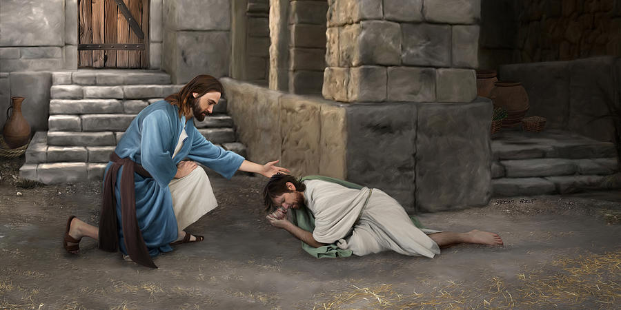Jesus Painting - Forgiveness by Brent Borup