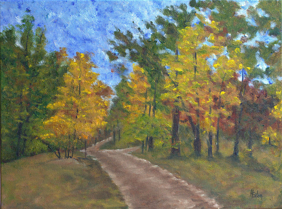 Autumn Painting - Fork In The Path by Helen Eaton