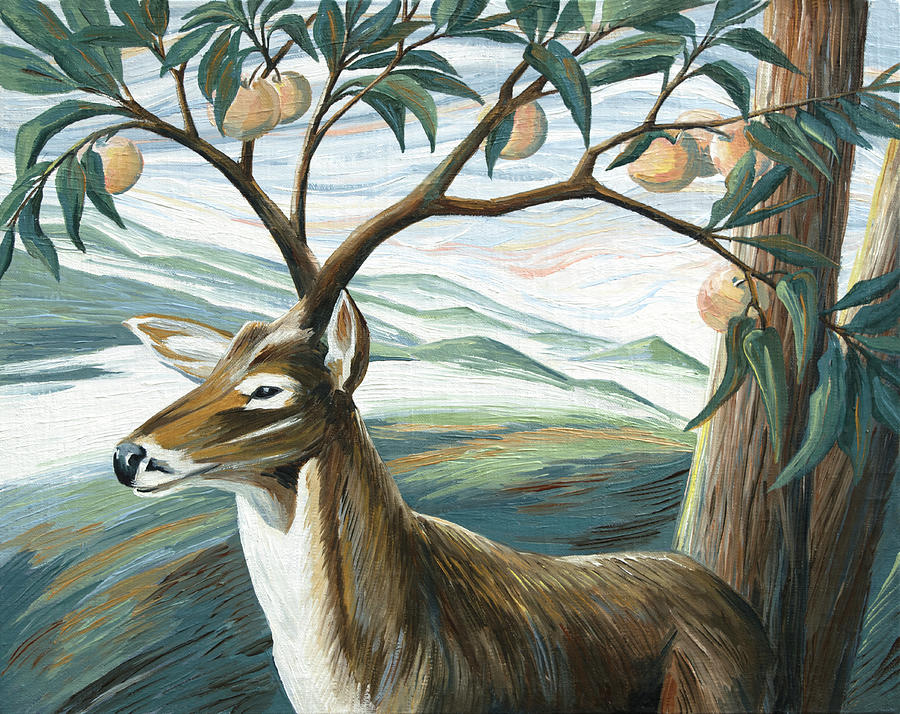 Deer Painting - Forked Deer by Paula McHugh