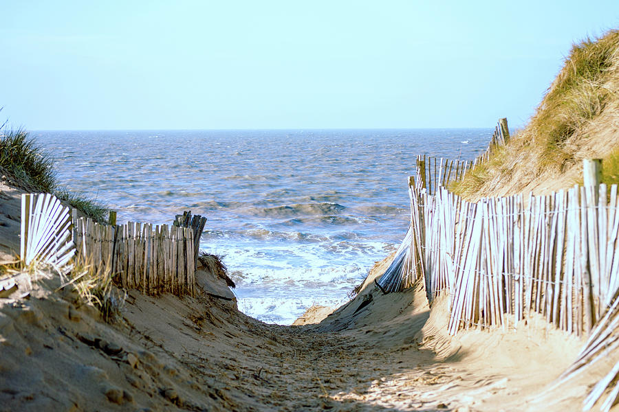 Formby Photograph - Formby Beach pathway to the sea by Spikey Mouse Photography