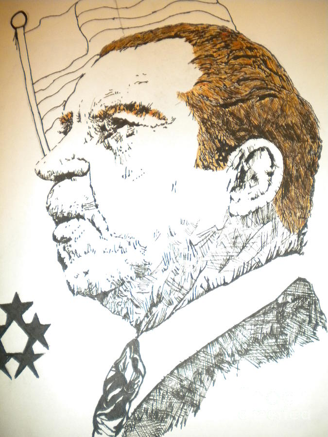 Throw Pillows Mixed Media - Former President Nixon by Franky A Hicks