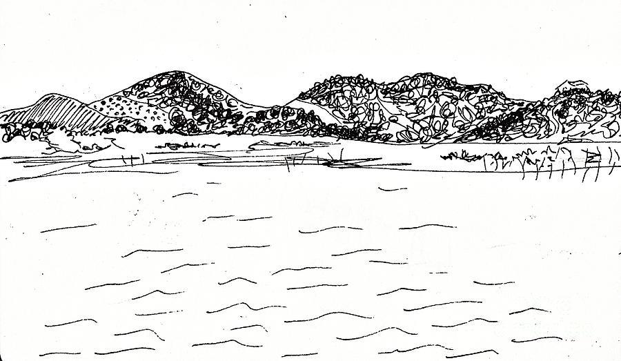 India Ink Drawing - Fornes Embalse De Los Bermejales by Chani Demuijlder